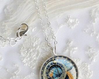 Prague astronomical clock necklace, Silver Pendant Necklace, Resin Necklace jewelry,Resin Jewelry,Pendant charm statement necklace N009