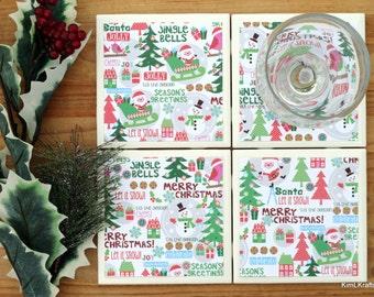 Christmas Coasters - Coasters - Tile Coasters - Holiday Coasters - Ceramic Coasters - Drink Coasters - Christmas Decor - Coaster Set of 4