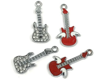 4 electric guitar charm enamel,strass and silver tone 30mm #CH 273