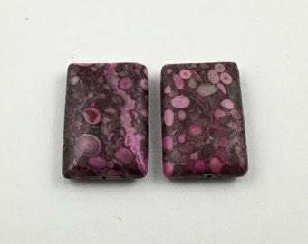 2 fuchsia ocean fossil  jasper stone beads,20mm x 30 mm /  #PP116