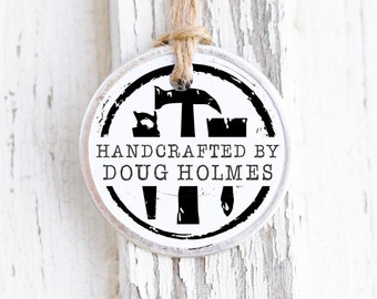 Handcrafted by Stamp, Personalized Men's Gifts, Woodworking Gift, Gift for Dad, Hand Crafted By, Carpenter Stamp. Handmade Stamp 10228