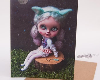 Greeting card + envelope - The cat girl