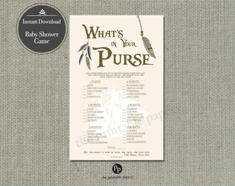 "Printable  ""What's in Your Purse"" Baby Shower Game 