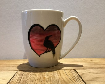 20% off Add RAVEN20 as coupon code at checkout Raven heart mug perfect for Valentine's and birthdays TattooTeaLady