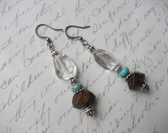 Boho gypsy quartz and bronzite stone earrings