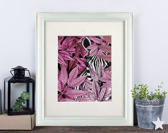 Zebra Print - Zebra in Pink Leaves Pink Wall art zebra wall art tropical print beach house decor tropical island decor jungle nursery print