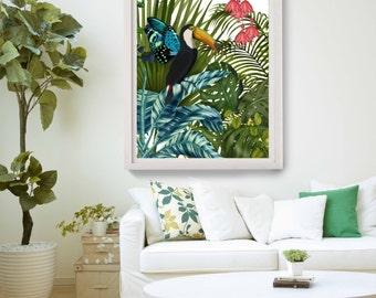 Toucan Print - Toucan in Tropical Forest - Bird print Toucan decor tropical bird art tropical wall art tropical decor jungle theme