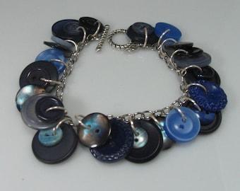 Blue Vintage Button Bracelet