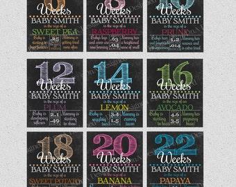Bi Weekly Pregnancy Chalkboard Weeks - Digital - Weeks 6-40 - Expecting Announcement - DIY - {3PCS}