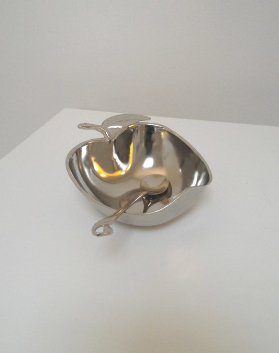 SALE** A Special Gift for Rosh Hashana! Vintage Rosh Hashanah Honey Dish, Silver Nickel Apple Shape Bowl, Judaica Art - On Sale!