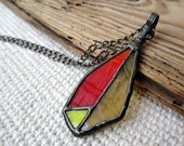 necklace with stained glass, metalwork, handmade