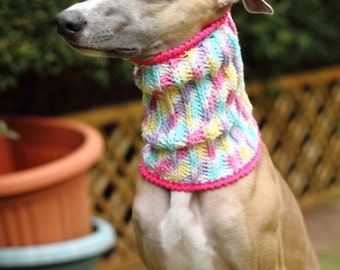 Pastel Whippet Snood, Dog Neckwear, crochet.