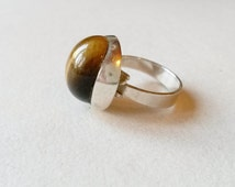 Modernist silver and tigereye ring, Friedrich Speidel (F489)