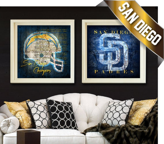 San Diego Chargers Happy Birthday Pictures: San Diego Chargers & Padres Maps 2 Pc. Art Combo By