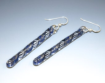 Long Drop Earrings, Flameworked Glass, Deep Blue, Dichroic Twists, Sterling French Wire - lampwork, handmade
