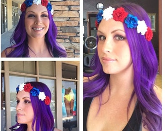 Patriotic Flower Halo. FREE SHIPPING