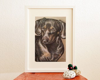 Dog Print, Dog art, Dachshund, Dog poster, dog wall decor, Dachshund decor, dog illustration, gift dog lover, animal print, animal art