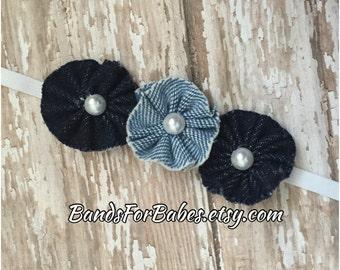 Denim Flower Skinny Elastic Headband, Blue Jean Flower Headband, Baby Headband, Toddler Headband, Girls Hair Bow, Blue Denim Hair Accessory
