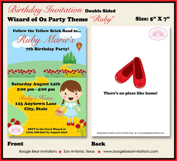 Wizard of Oz Birthday Party Invitation Dorothy Red Shoes Girl – Wizard of Oz Birthday Party Invitations