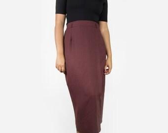Vintage Plaid Fitted Skirt