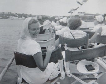 Vintage 1950's Pretty Young Woman Takes Boat Trip Snapshot Photo - Free Shipping
