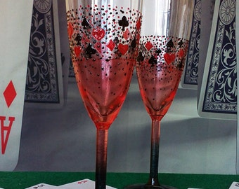 Casino Wedding Glasses Champagne Flutes Set of 2 Heart Spade Club Diamond in red and black color