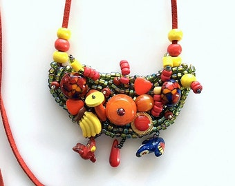Seed Bead Bird Mosaic Necklace - Colorful Fun Seed Bead Necklace - OOAK Statement Necklace