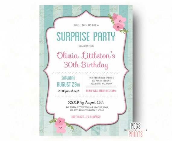 Shabby chic surprise birthday invitations printable surprise 30th il570xn filmwisefo