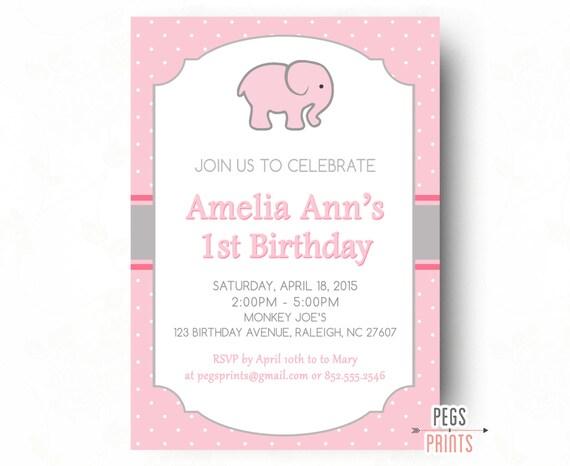 Elephant Birthday Invitation 1st Birthday Invitation Girl – Elephant Birthday Invitations