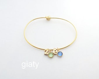 Two Initials With Birthstone Bracelet, Dainty Bracelet,Lowercase Initial Bracelet,Initial Bracelet,Personalized Bracelet,Bridesmaid Bracelet