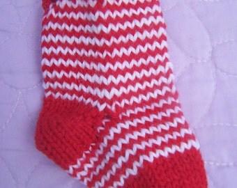 Red and white striped Christmas stocking, Handknit Xmas stocking, Stocking ornament, Stocking decoration, Stocking gift bag, Mini stocking