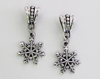 Antiqued Silver Christmas Winter Snowflake Large Hole Pandora Style European Hanging Dangle Bead Charms Set of 2