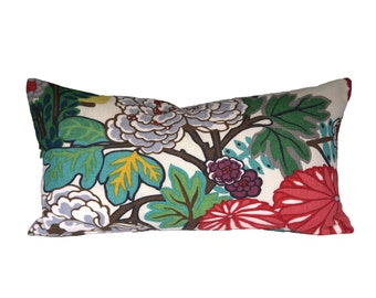 FLORAL PATTERN lumbar pillow cover (1 sided) - Schumacher Chiang Mai Dragon Alabaster - Choose Your Size