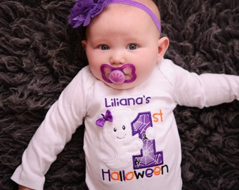 1st Halloween Baby Girl Ghost 5-Piece Outfit for Newborn to Youth XL with Shirt or Bodysuit, Leg Warmers. Tutu, Bloomers and Headband