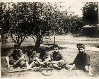 Vintage Photo ~ Victorian boys baseball team   ~ original black and white photography ~