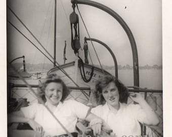 ferry boat girls ~ Vintage Photo  ~ 1940's lake memories