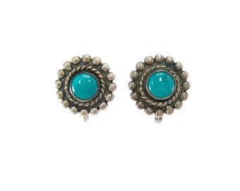 Vintage Turquoise Earrings, Sterling Silver, Screw Backs
