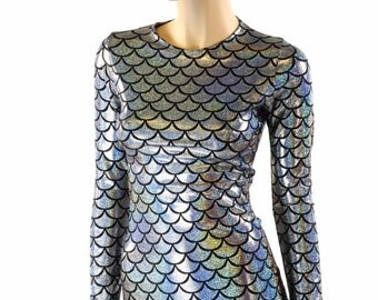 Silver Scale Long Sleeve Crew Neck Full Length Spandex Top -151657