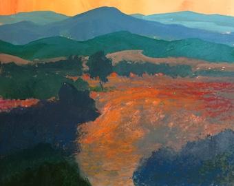 Landscape Painting, Blue Ridge Mountains, Meadow, Clouds, Sunset, acrylic on paper, orange, aqua, blue