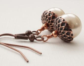 Copper acorn earrings, shell pearl earrings, cream earrings, cream pearl earrings, pearl and copper earrings, cream shell earrings
