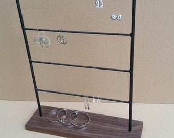 Earring Display, Earring Stand, Earring Organizer, Earring Holder, Steel Jewelry Stand, Wood Jewelry, Product Display, Jewelry Display 127