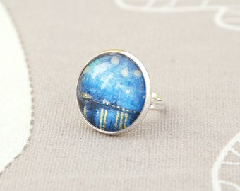 Vincent van Gogh Starry night over the Rhone art artist painting round ring adjustable blue stars