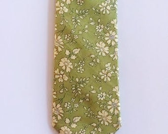 Green floral tie, green skinny tie, liberty of london, green bow tie, sage, green, fall necktie, moss green, wedding tie, groomsmen ties