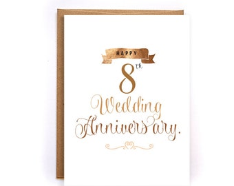 8th anniversary cards for her, bronze anniversary card, cute handmade greeting cards for husband, anniversary gifts for him, for man GC58