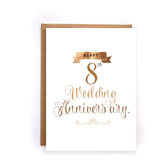 8th Anniversary Cards For Her Bronze Anniversary Card Cute