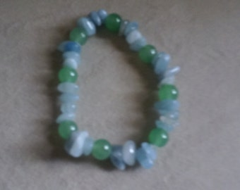 New item!  Bracelet with 6mm Amazonite and 6mm Green Adventurine