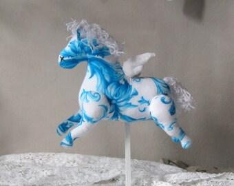 Flying Horse decor Shabby Chic decor Blue White Shabby chic Nursery New Baby boy gift French nursery decor Vintage Nursery Baby shower gift