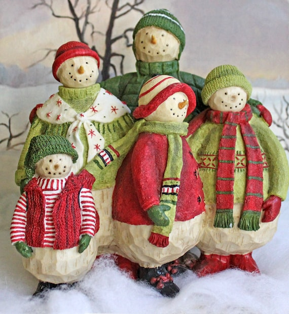 Christmas decoration figurines of large snowman family five