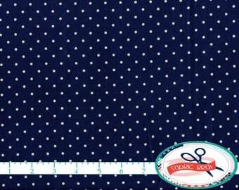 NAVY BLUE DOT Fabric by the Yard, Fat Quarter Polka Dot Fabric Navy Blue Fabric Quilting Fabric Apparel Fabric 100% Cotton Fabric w4-9