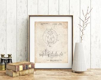 Pumpkin Patent Poster, Halloween Decor, Haunted, Pumpkin Decor, Vintage Halloween, PP1003